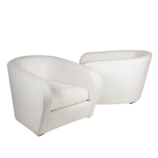 Pair of Deep Curved Back Armchairs, American, 1960s
