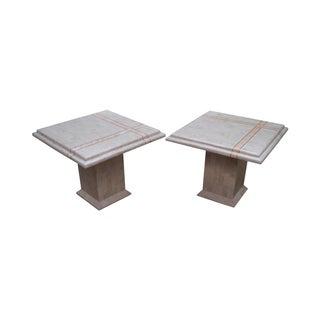 Maitland Smith Stone Marble Tables - A Pair