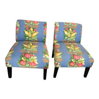 Waverly Fabric Slipper Chairs - Pair