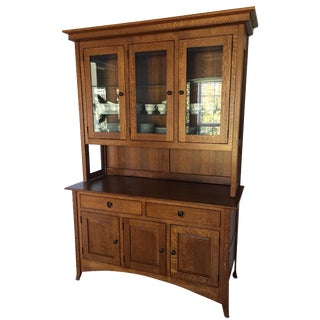 Mission-Style Oak Dining Hutch