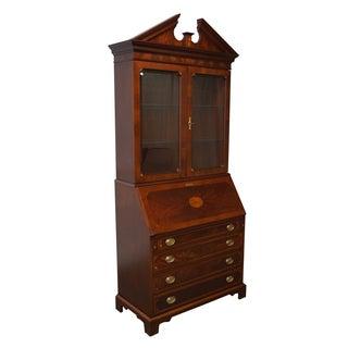 Hekman Mahogany & Yew Wood Inlaid Secretary Desk