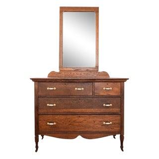 Antique Oak Mission Dresser & Mirror
