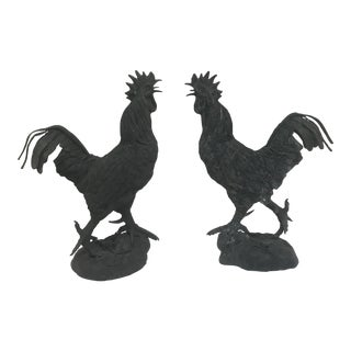 Oversized Iron Roosters - A Pair