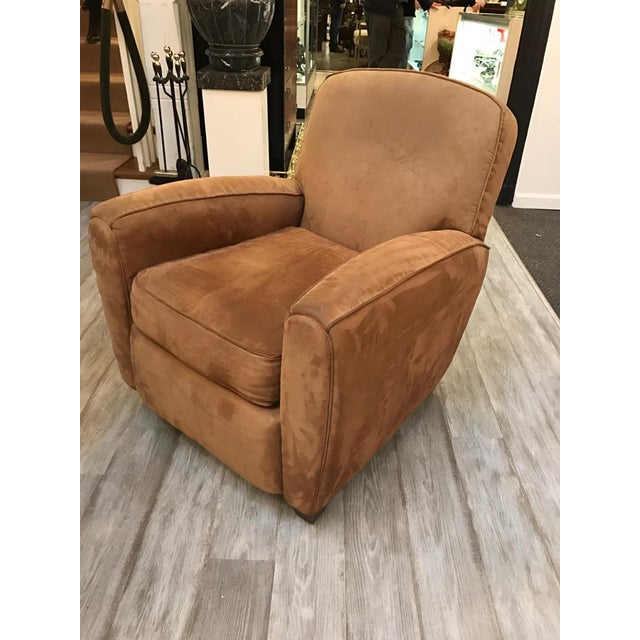 Brown Suede Leather Club Chair | Chairish