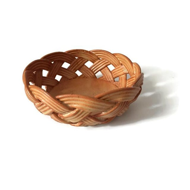 Image of Vintage Italian Pottery Bowl Ceramic Basket