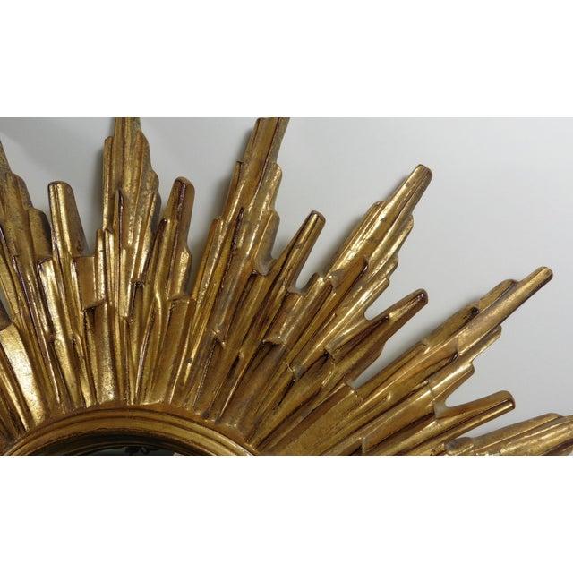 French Sunburst Gilded Wood Mirror - Image 3 of 4