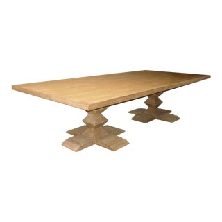Custom Table With Two Stacked Pyramid Pedestals in Cerused Oak