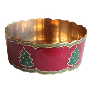 Enameled Brass Christmas Tree Champagne Coaster