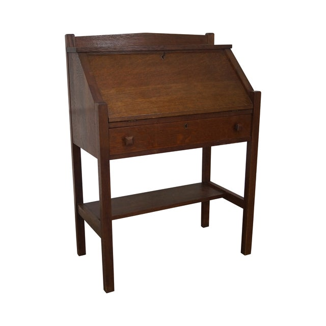 Antique mission oak slant front writing desk chairish