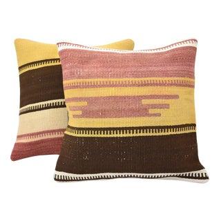 Vintage Turkish Handmade Kilim Pillow Covers - A Pair