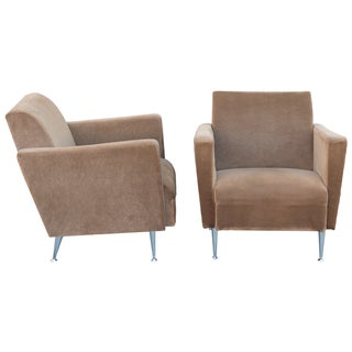 1950s-Style Club Chairs in Beige - A Pair
