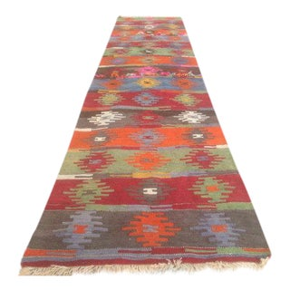 Vintage Turkish Kilim Runner - 2′9″ × 12′6″