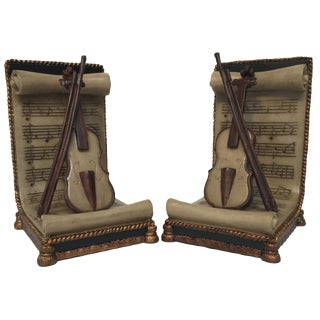 Violin Music Bookends - A Pair
