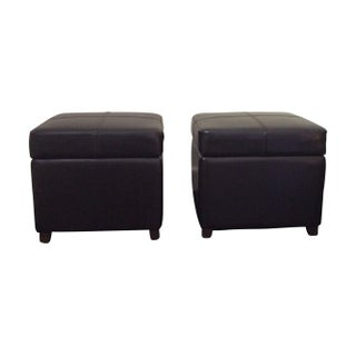 Grace Home Leather Storage Ottomans - A Pair