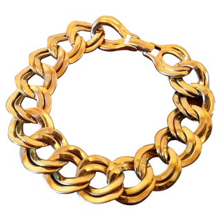 Vintage Gold Monet Double Link Chain Bracelet