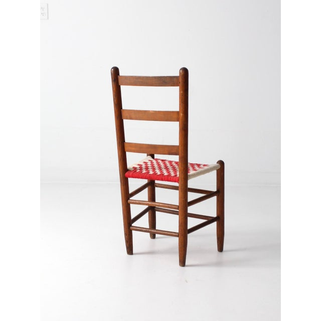Antique Ladder Back Upholstered Seat Chair - Image 5 of 8