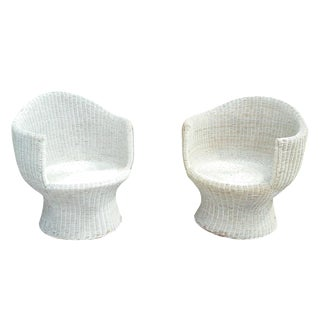 Mid-Century Natural Wicker Pod Chairs - Pair
