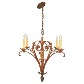 French 40's Hand-Wrought Iron 4 Light Chandelier