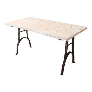 Vintage Industrial Antique Distressed Wood and Steel Farm Dining Table or Desk