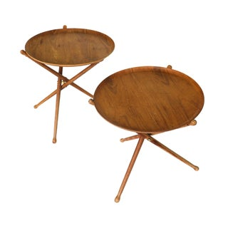 Swedish Modern Folding Tripod Tables - A Pair