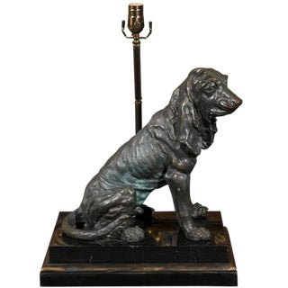 Vintage Bronze Hound Dog Table Lamp on Marble and Wood Base