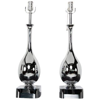 Pair of Chrome-Plated Tear Drop Table Lamps