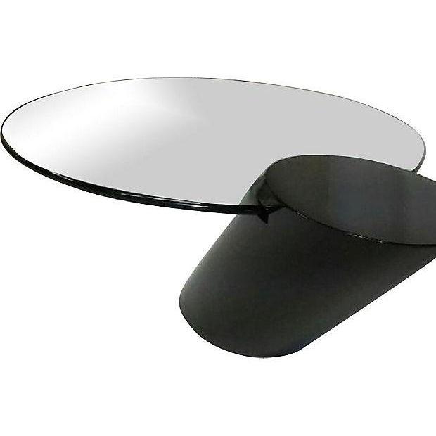 Zephyr-Style Black Cylinder Base Coffee Table - Image 3 of 6