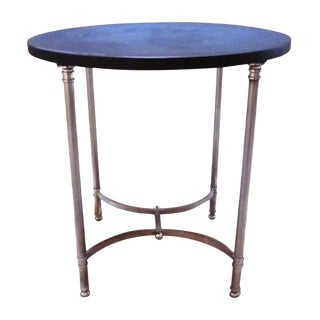 French Chrome Side Table with Leather Top by Maison Jansen