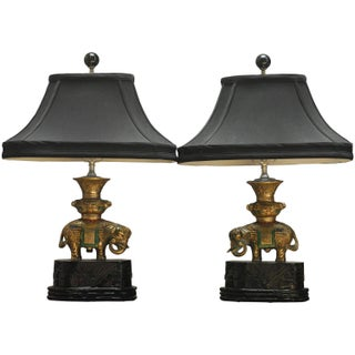Thai White Brass Elephant Table Lamps - A Pair