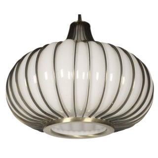 Onion' Form Glass & Metal Pendant Light