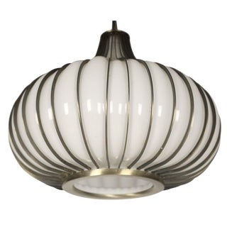Onion' Form Glass & Metal Pendant Light