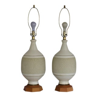 Mid-Century Modern Pottery Table Lamps - A Pair