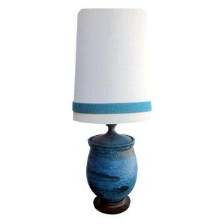 1960s Turquoise Drip Glazed Raymor Style Lamp