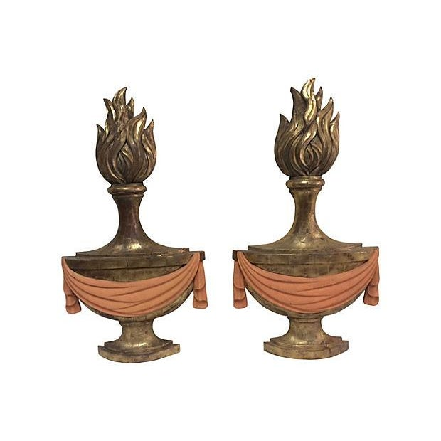 1940's Carved Torch Plaques - Pair - Image 1 of 5