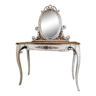 Antique French Vanity With Oval Mirror