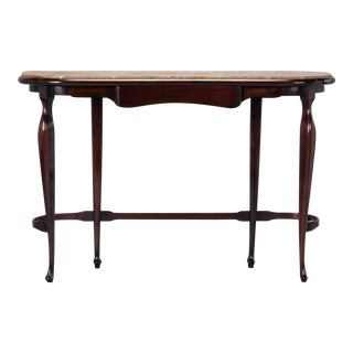 Art Deco Polished Walnut Console With Marble Top