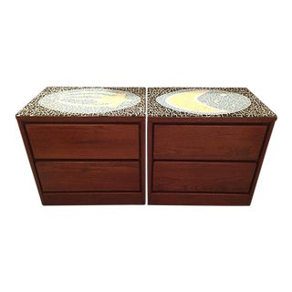 1970's Mosaic Top Nightstands - A Pair