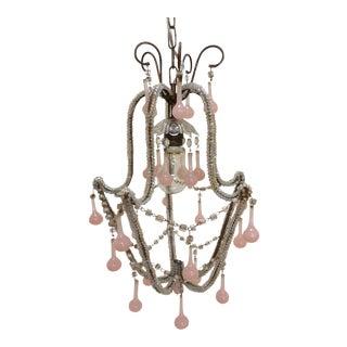 Pink Murano Drop Chandelier