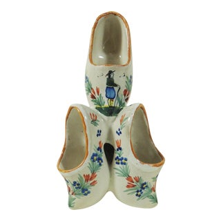 French Faience Quimper Clogs Vase
