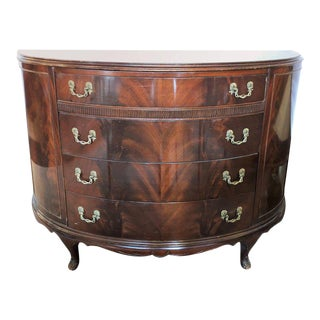 Crotch Mahogany Georgian Style Demilune Chest or Commode