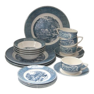 Currier & Ives by Royal Blue Dinnerware