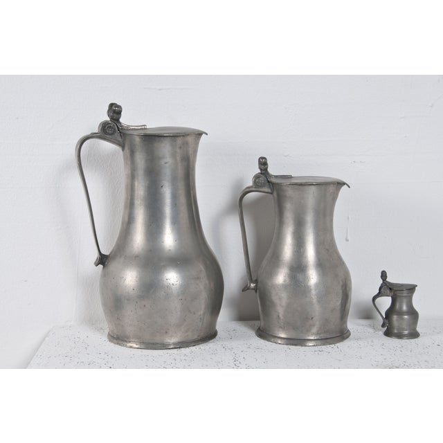 Pewter Acorn Pitchers - Set of 3 - Image 2 of 5