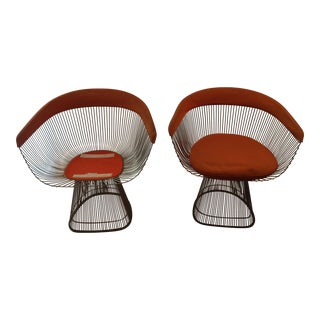Warren Platner for Knoll Mid-Century Modern Nickel Wire Chairs- Set of 2