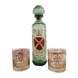 Green Glass Liquor Decanter Glasses - Set of 3