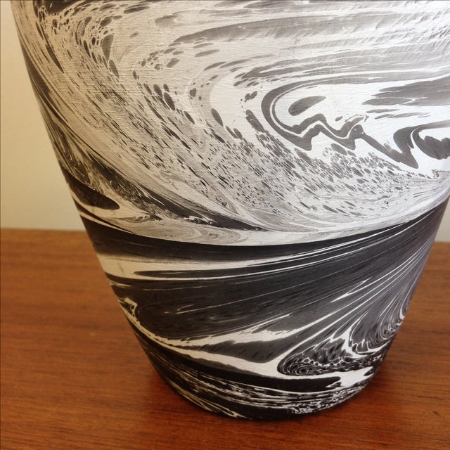 Hand Painted Marbelized Ceramic Vessel - Image 5 of 6