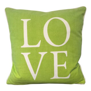 'Love' Green & White Decorative Pillow
