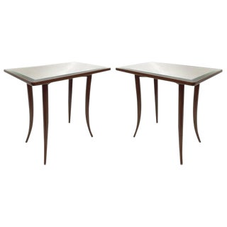 French Side Tables With Mirrored Surface - A Pair