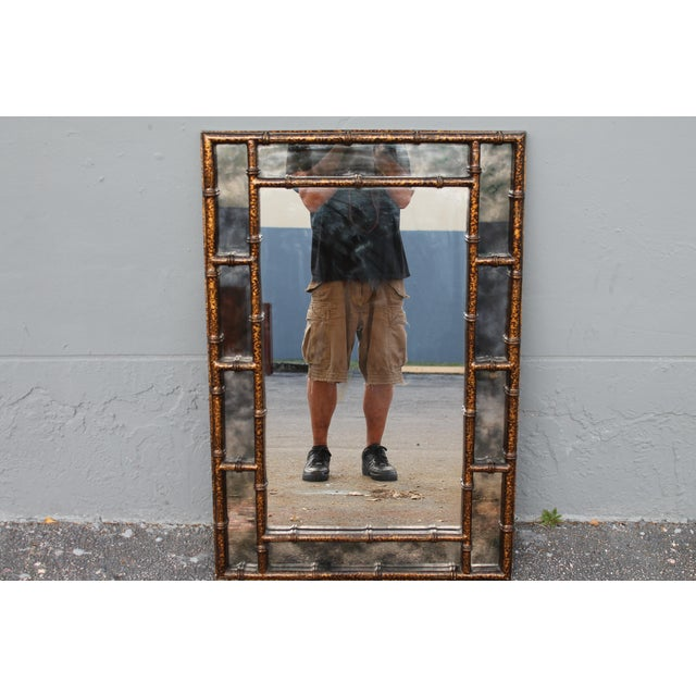 Mid-Century Faux Tortoise Wall Mirror - Image 2 of 11