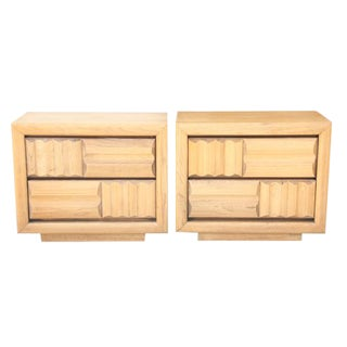 Lane Brutalist Nightstand, Pair