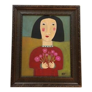 "Contemporary Folk Artist Rose Walton ""Girl W/Flowers"" Painting"